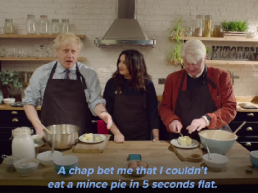 Watch: Boris Johnson Mixes Up Baking Shows and Brexit in Christmas Viral Vid