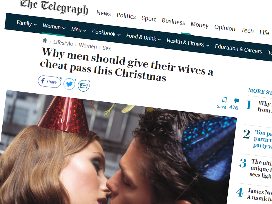 It's Christmas! So a British Newspaper Is Encouraging Wives to Cheat on Their Husbands... Again