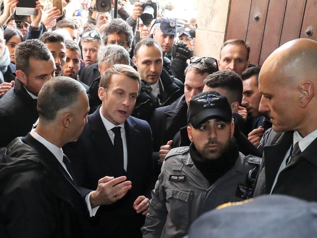 WATCH: French President Emmanuel Macron Yells at Israeli Security