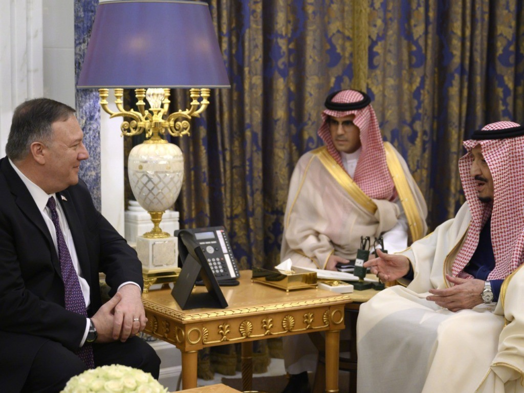 Pompeo Meets Saudi King in Talks Focused on Iranian Threats