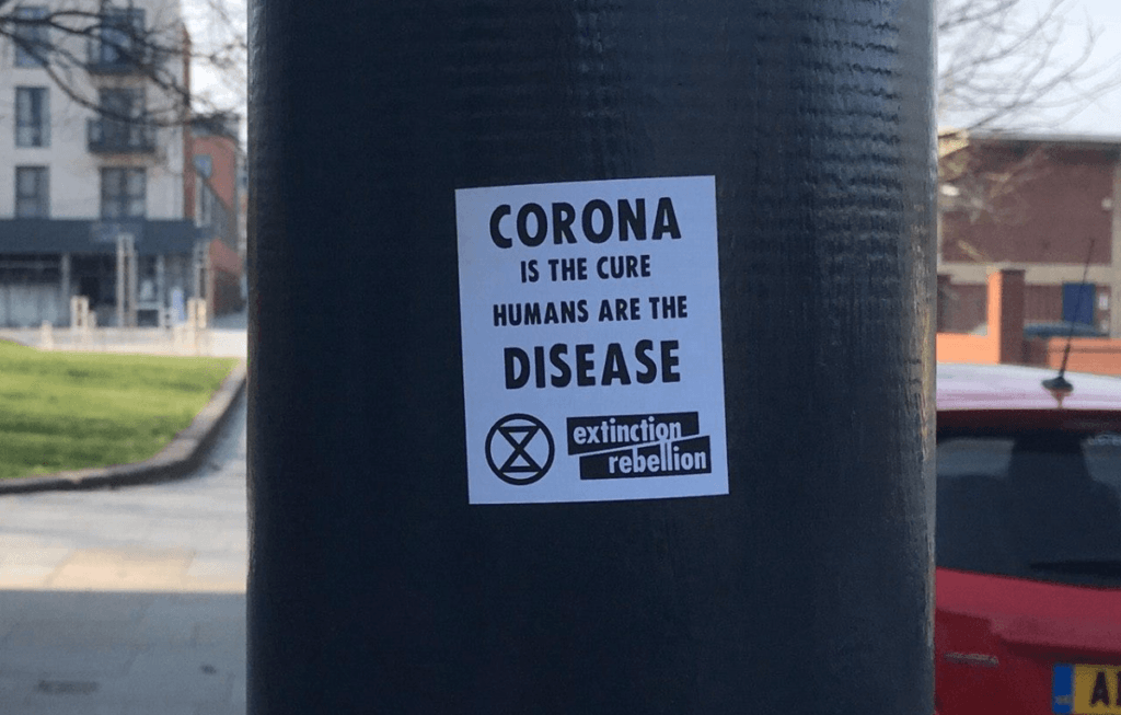 Delingpole: Eco-Fascists Deny Responsibility For 'Corona Is the Cure; Humans are the Disease' Signs