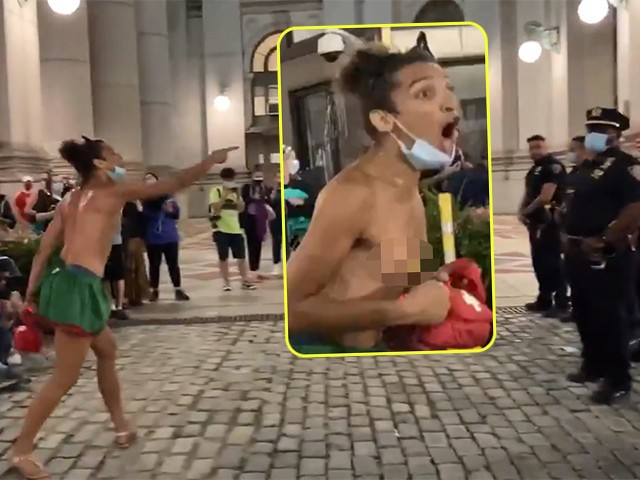 Topless BLM Protester Awkwardly Dances, Berates NYPD Officers