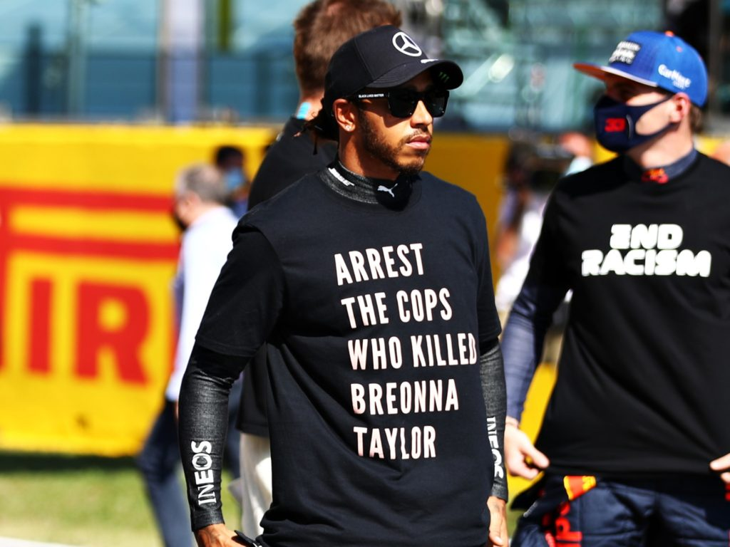 Formula 1 Driver Lewis Hamilton Wears 'Arrest the Cops Who Killed Breonna Taylor' Shirt