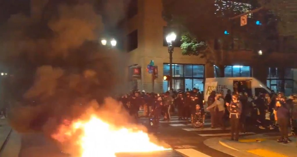 Portland Rioters Set Fire to Minority-Owned Business in Mayor Ted Wheeler's Condo Building