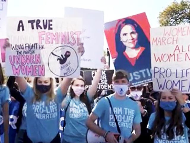 Watch: Amy Coney Barrett Supporters Block Feminist Protesters Outside the Supreme Court