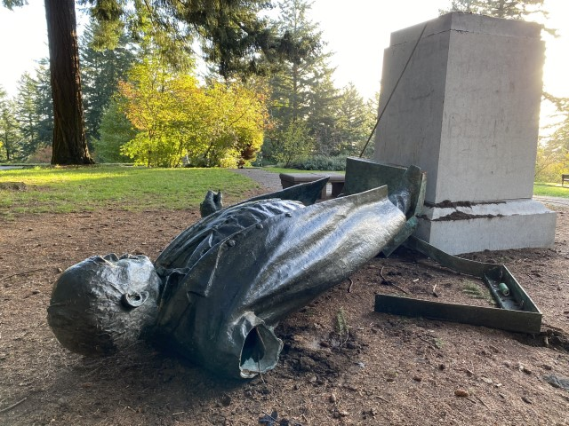 Statue of Portland Newspaper Editor Found Destroyed, Tagged with 'BLM'