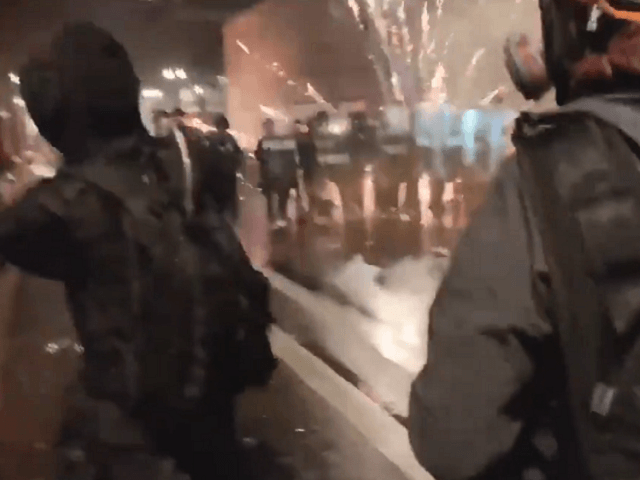 WATCH: Antifa Firebomb, Shoot Fireworks at Portland Police on NYE