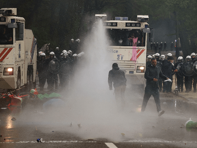 BRUSSELS (AP) - Police have detained 132 people who took part in an illegal party in a Brussels park to protest COVID-19 restrictions, authorities said Sunday.