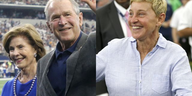 "Daytime talk show host Ellen DeGeneres took a stand against the Twitter mob after receiving backlash for appearing at a football game next to former President George W. Bush, whom she calls a ""friend."""