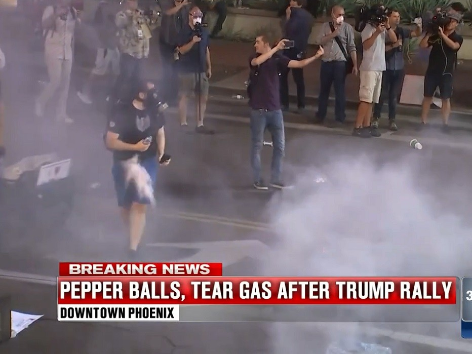Watch: Phoenix Protester Takes a Pepper Ball to the Groin