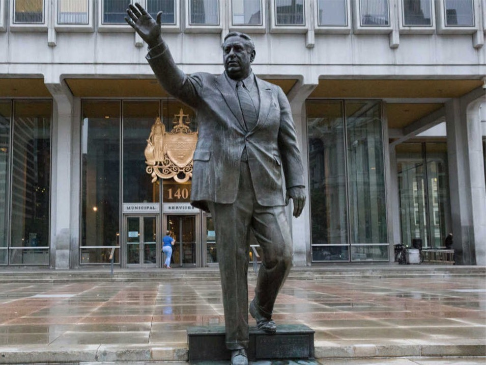 WATCH: Frmr Philadelphia Mayor and Police Commissioner Frank Rizzo's Statue Spray-Painted With 'Black Power'