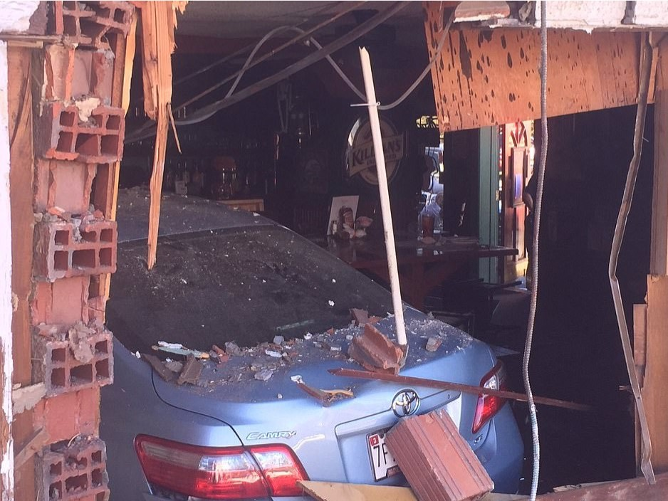Watch: Car Plows Into Maryland Bar, Injuring 10