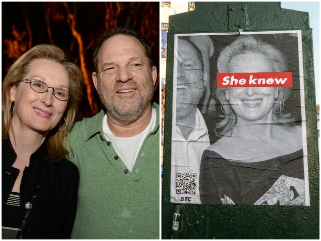 'She Knew': Artist Calls Out Meryl Streep with Weinstein Posters