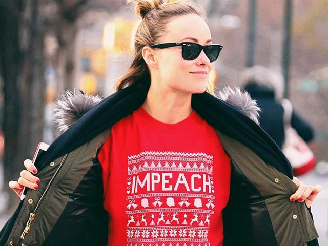 Olivia Wilde Celebrates Christmas in 'Impeach' Sweater