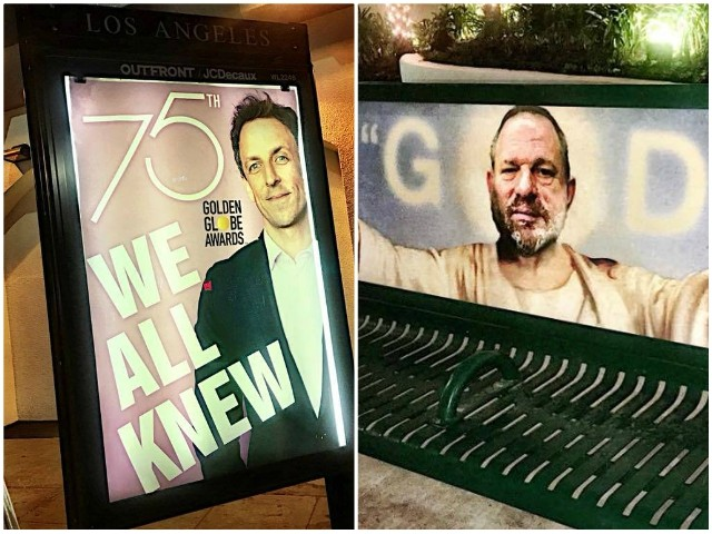 Photos: Street Artist Trolls Golden Globes with 'We All Knew' Artwork