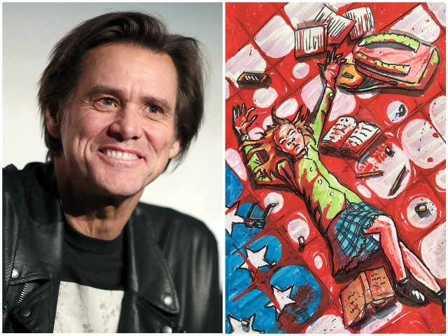 Jim Carrey Shares Painting of American Flag Soaked in Schoolgirl's Blood