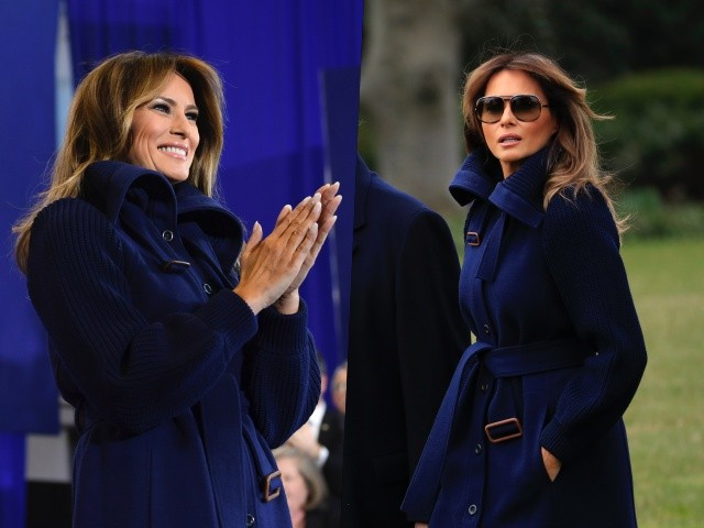 Fashion Notes: Melania Trump Struts in Style Wearing Navy Coat, Knee-High Leather Boots