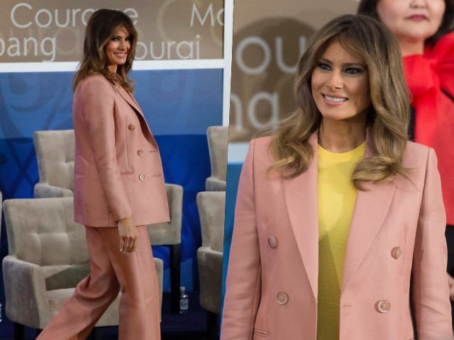 Fashion Notes: Melania Trump Exemplifies Girl Power in Coral Pink, Emilio Pucci Suit