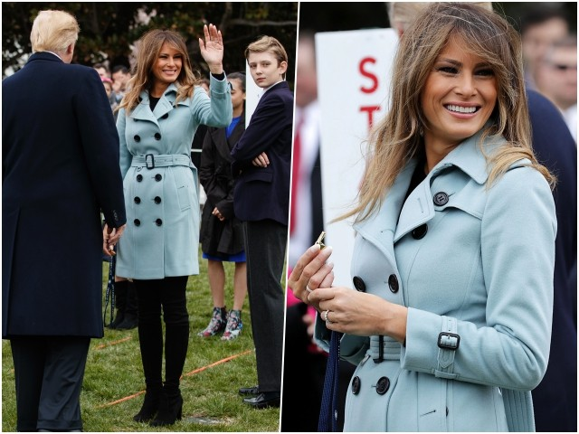 Fashion Notes: At Easter Egg Roll, Melania Trump Steals the Show with Bright Smile and Burberry Coat