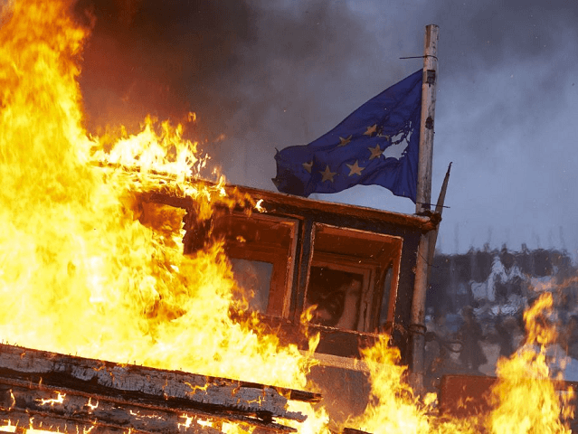 Pictures: Farage Joins Fishing Boat-Burning Protest Against May's Brexit Betrayal