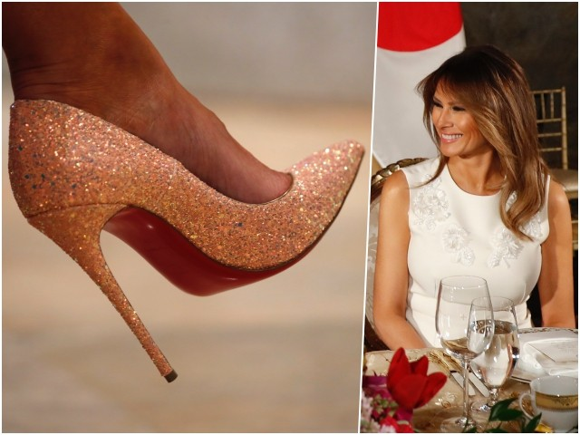 Fashion Notes: Melania Trump Sparkles in Glitter Pumps at U.S.-Japan State Dinner