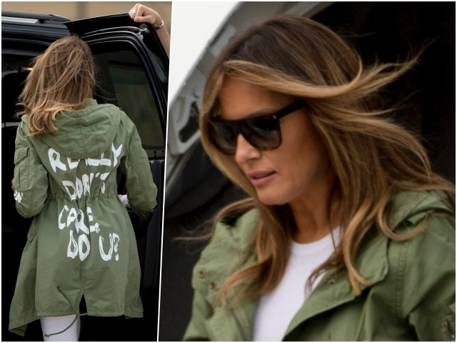 PHOTOS: Melania Trump Trolls 'Fake News Media,' Rocks 'I Really Don't Care, Do U?' Parka Back to White House