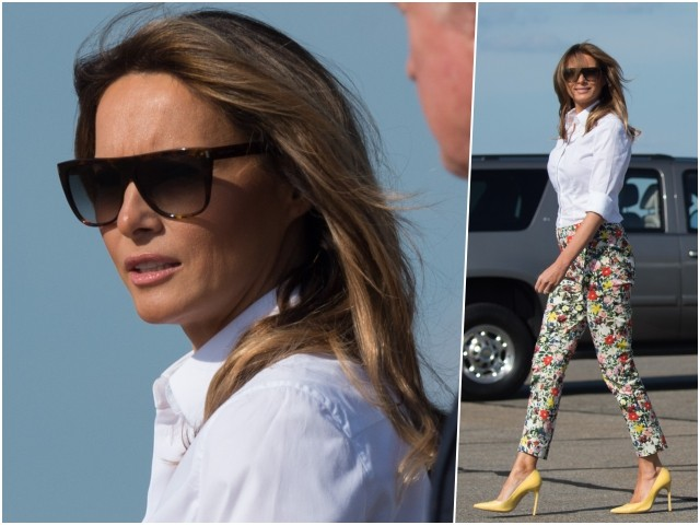 Fashion Notes: Melania Trump Struts in Flower Power Pants, Bright Stilettos for Weekend Getaway
