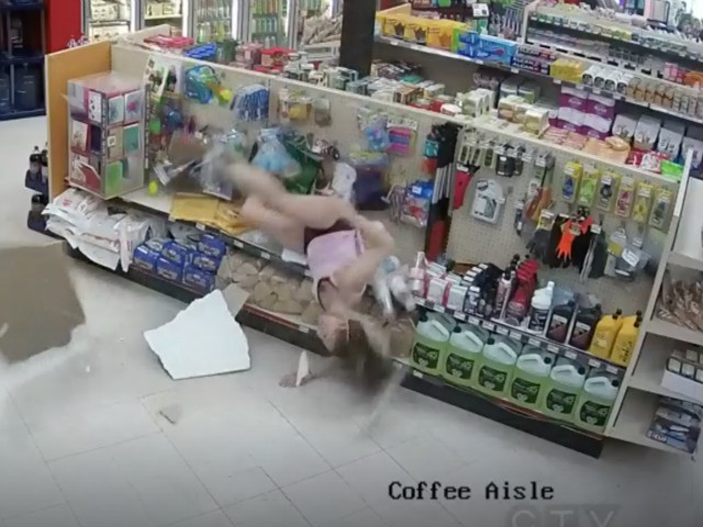 WATCH: Canadian Woman Attempting to Escape Police Falls Through Ceiling