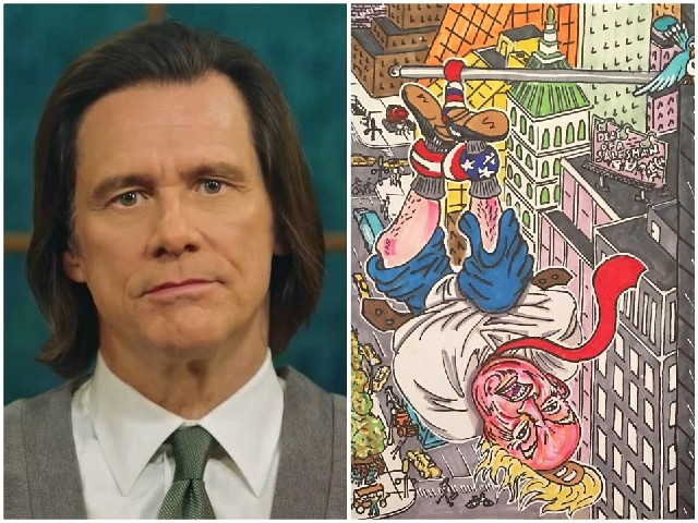 'Death of a Salesman': Jim Carrey Painting Hangs Trump from the American Flag