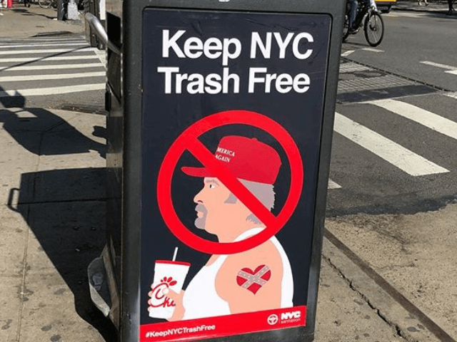 'Keep NYC Trash Free' Signs Insult Trump Supporters on NYC Garbage Cans