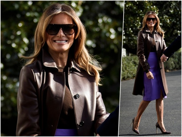 Fashion Notes: Melania Trump En Route to G20 in Ralph Lauren Leather Coat