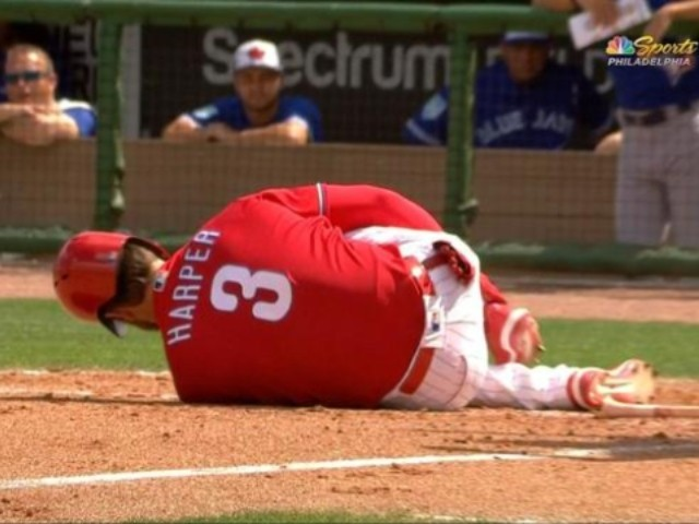WATCH: Bryce Harper Drilled in the Ankle by a Fastball, Forced to Leave Game