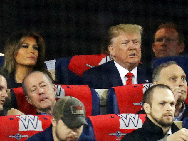 Donald Trump Attends Game Five of the World Series at Nationals Stadium