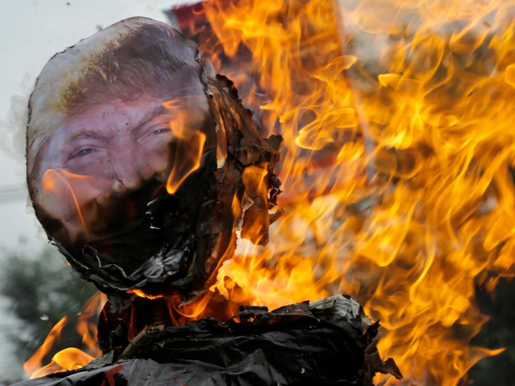 Communists Burn 'Devil Crazy Man' Trump Effigy in Hong Kong